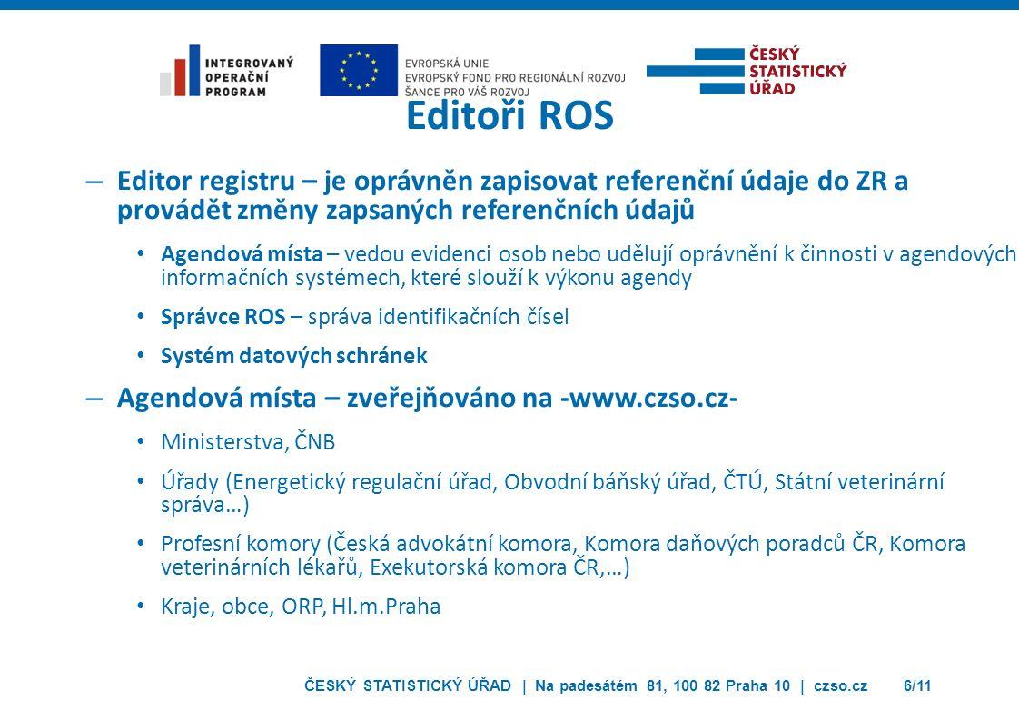 ČESKÝ STATISTICKÝ ÚŘAD | Na padesátém 81, 100 82 Praha 10 | czso.cz6/11 Editoři ROS – Editor registru – je oprávněn zapisovat referenční údaje do ZR a