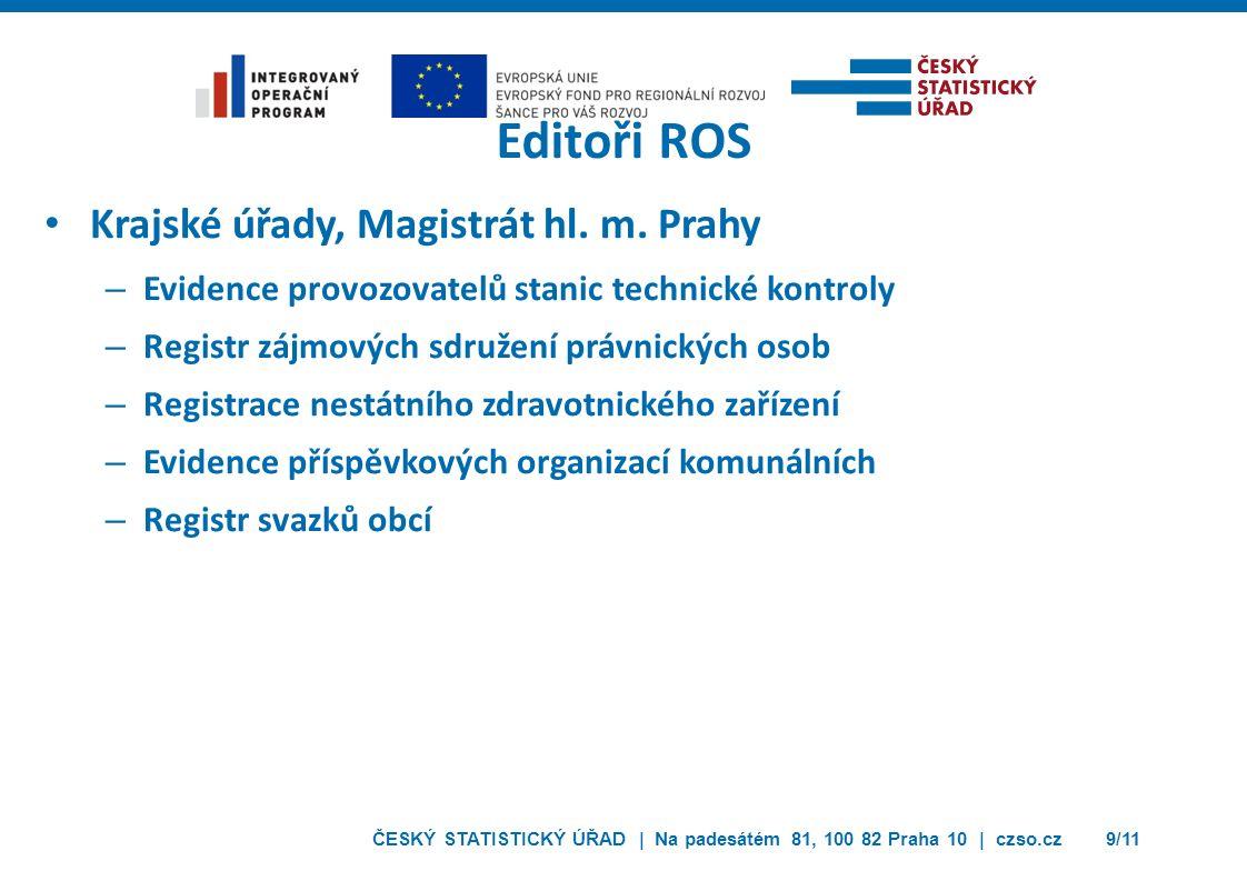 ČESKÝ STATISTICKÝ ÚŘAD | Na padesátém 81, 100 82 Praha 10 | czso.cz9/11 Editoři ROS Krajské úřady, Magistrát hl.