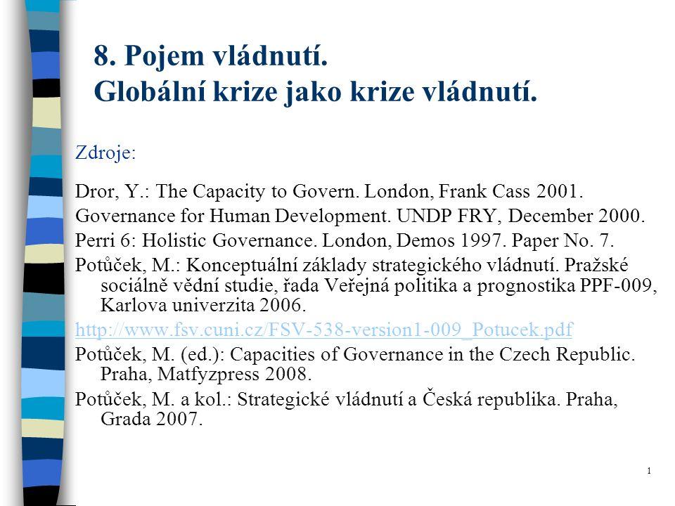 8. Pojem vládnutí. Globální krize jako krize vládnutí.