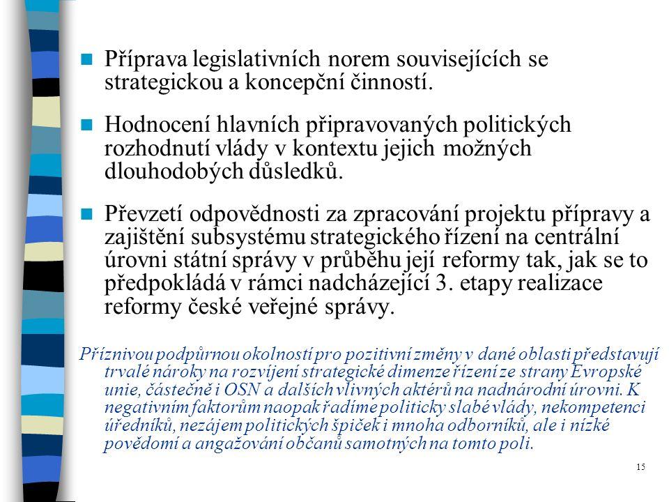 15 Příprava legislativních norem souvisejících se strategickou a koncepční činností.