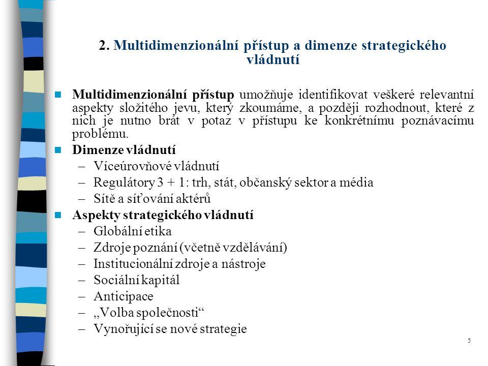 5 2. Multidimenzionální přístup a dimenze strategického vládnutí Multidimenzionální přístup umožňuje identifikovat veškeré relevantní aspekty složitéh