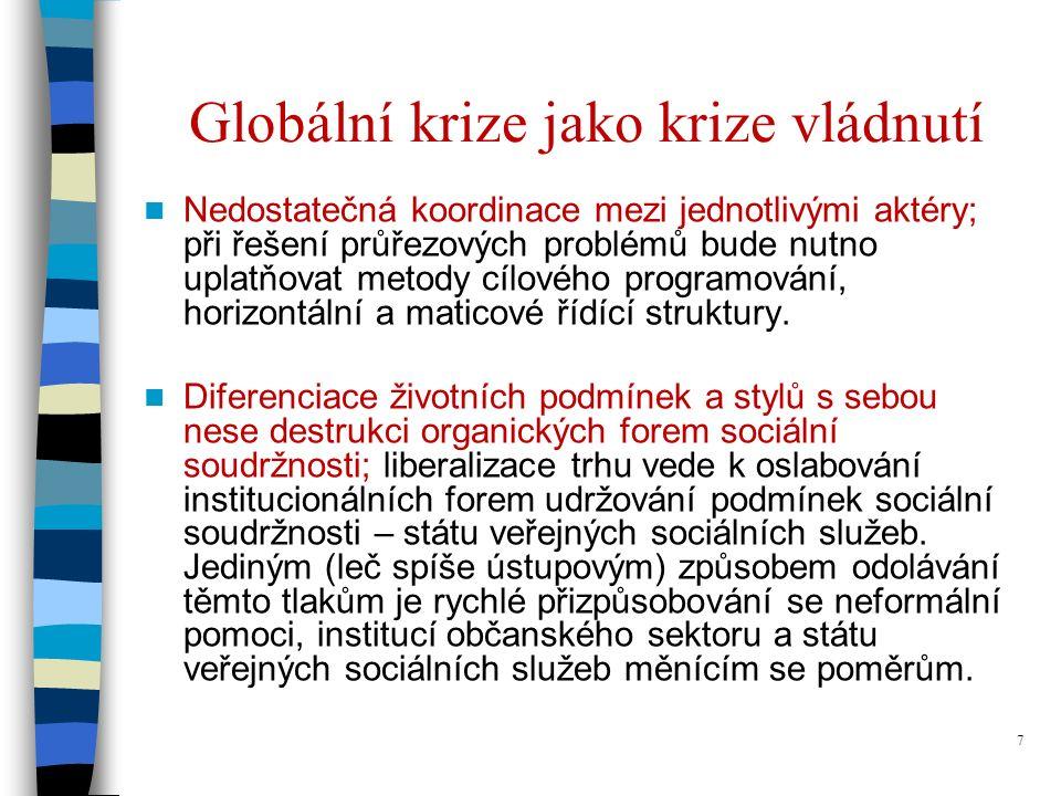 7 Globální krize jako krize vládnutí Nedostatečná koordinace mezi jednotlivými aktéry; při řešení průřezových problémů bude nutno uplatňovat metody cílového programování, horizontální a maticové řídící struktury.