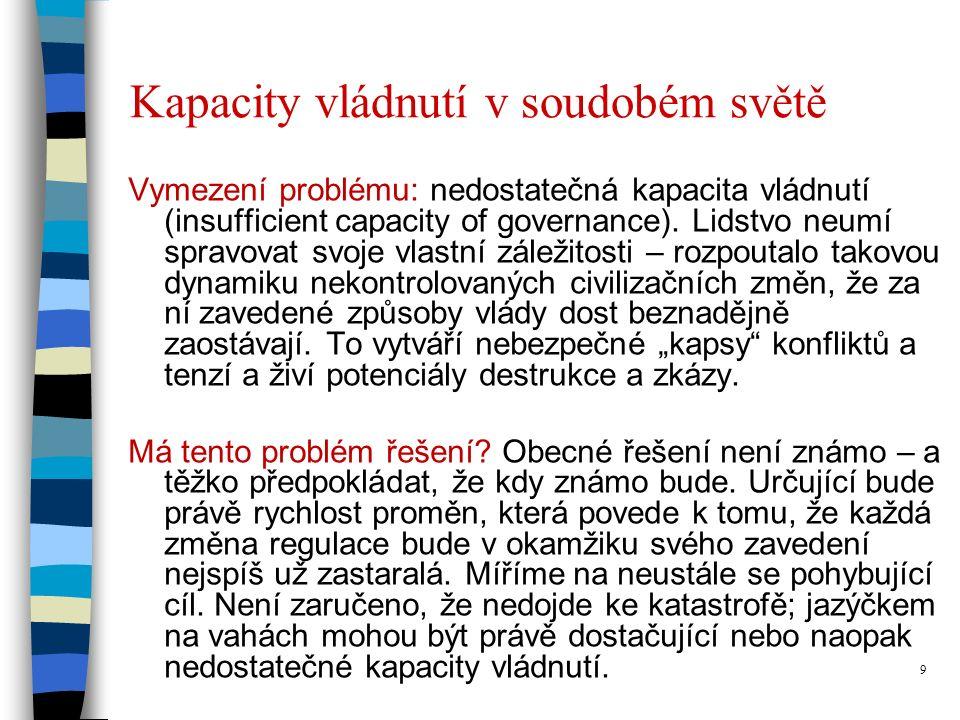 9 Kapacity vládnutí v soudobém světě Vymezení problému: nedostatečná kapacita vládnutí (insufficient capacity of governance).