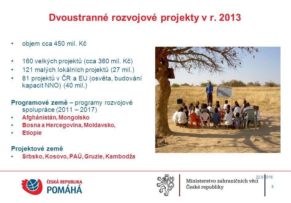 Dvoustranné rozvojové projekty v r.2013 objem cca 450 mil.