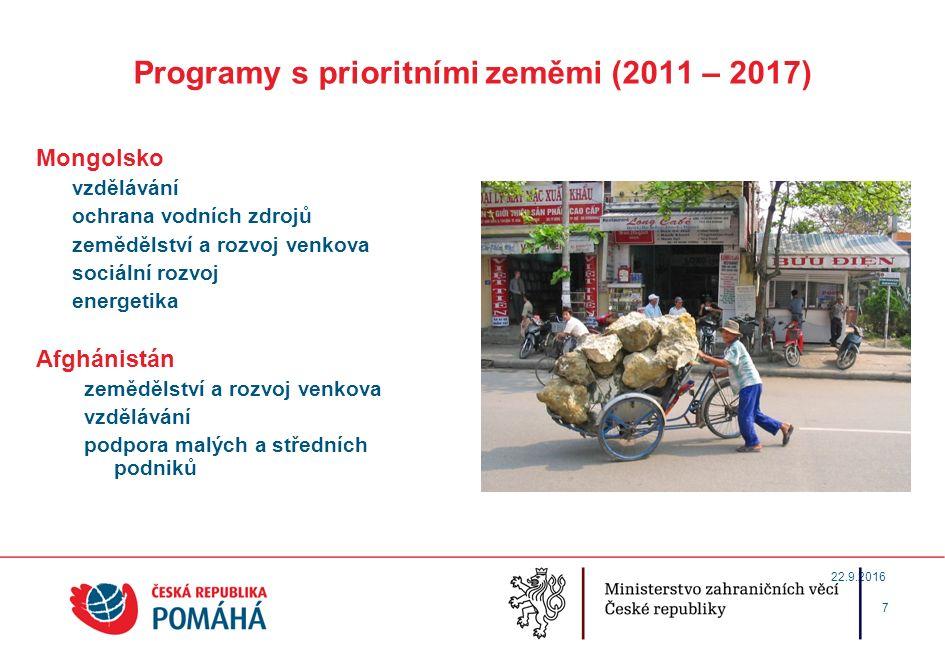 Programy s prioritními zeměmi (2011 – 2017) Mongolsko vzdělávání ochrana vodních zdrojů zemědělství a rozvoj venkova sociální rozvoj energetika Afghánistán zemědělství a rozvoj venkova vzdělávání podpora malých a středních podniků 7 22.9.2016