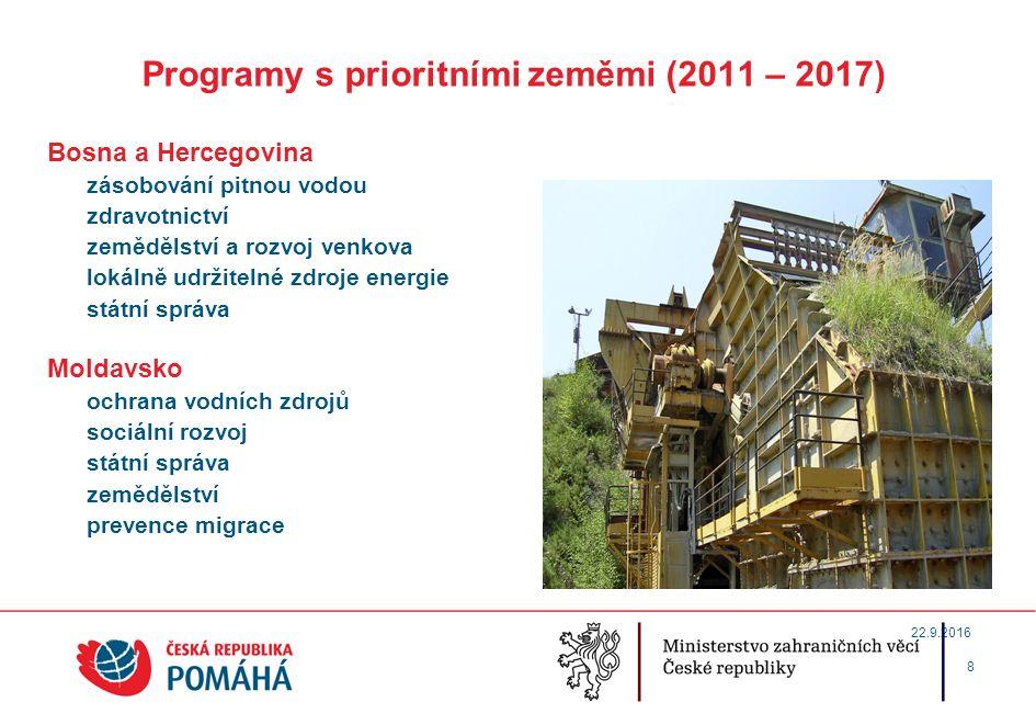 Programy s prioritními zeměmi (2011 – 2017) Etiopie zemědělství a rozvoj venkova vzdělávání ochrana vodních zdrojů zdravotnictví řízení geodynamických rizik 9 22.9.2016