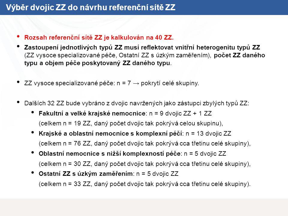 Výběr dvojic ZZ do návrhu referenční sítě ZZ Rozsah referenční sítě ZZ je kalkulován na 40 ZZ. Zastoupení jednotlivých typů ZZ musí reflektovat vnitřn