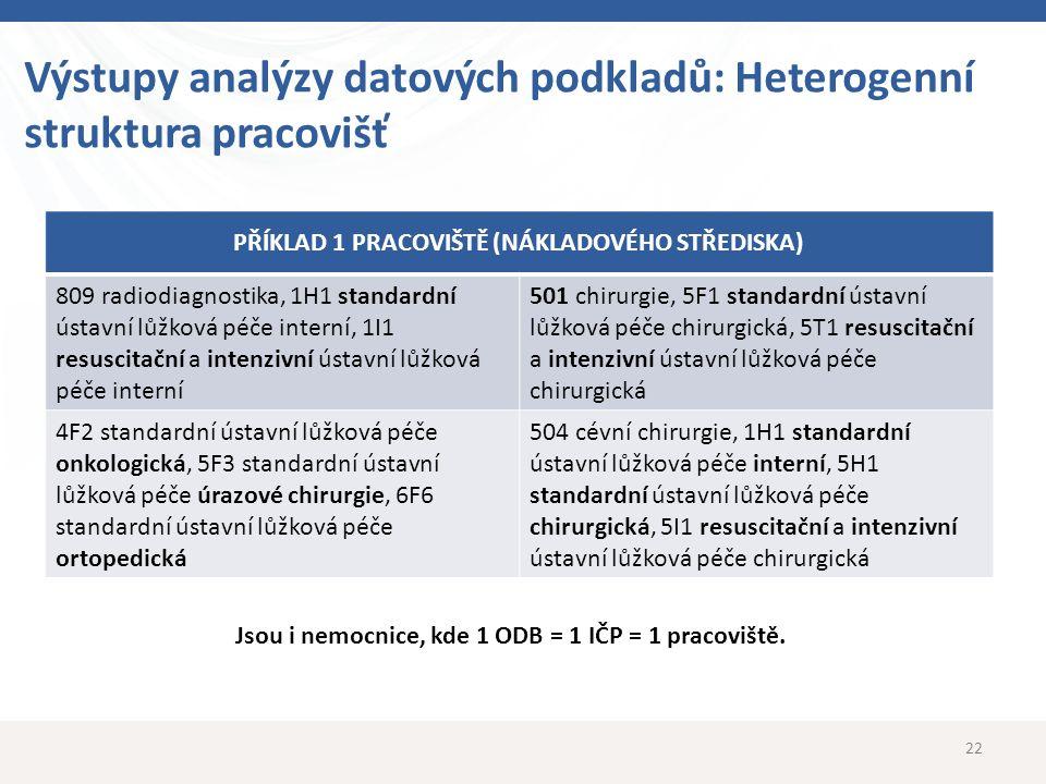 Výstupy analýzy datových podkladů: Heterogenní struktura pracovišť 22 PŘÍKLAD 1 PRACOVIŠTĚ (NÁKLADOVÉHO STŘEDISKA) 809 radiodiagnostika, 1H1 standardn