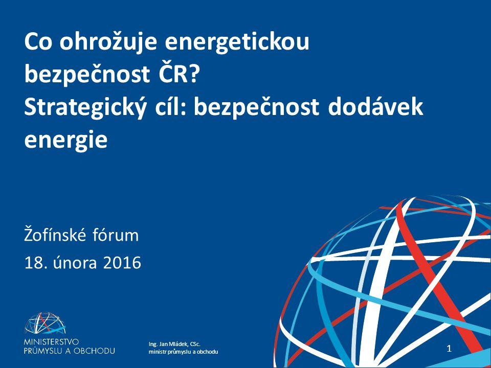 Ing.Jan Mládek, CSc. ministr průmyslu a obchodu 2 Co ohrožuje energetickou bezpečnost ČR .