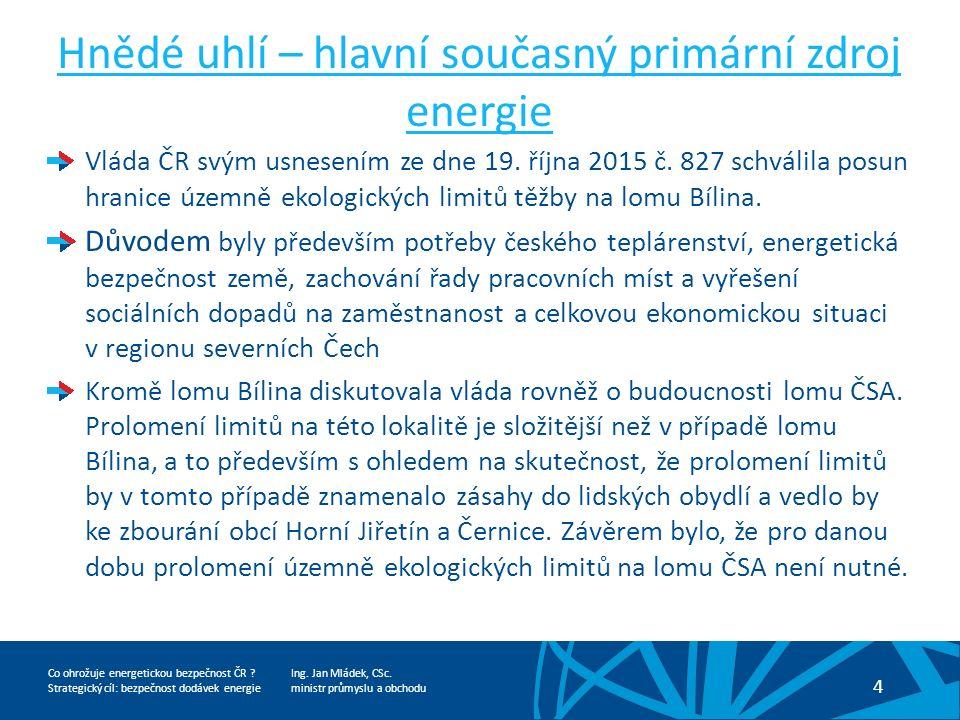 Ing. Jan Mládek, CSc. ministr průmyslu a obchodu 4 Co ohrožuje energetickou bezpečnost ČR .