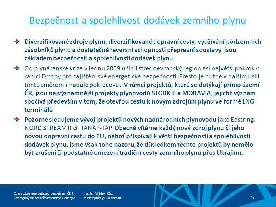Ing. Jan Mládek, CSc. ministr průmyslu a obchodu 5 Co ohrožuje energetickou bezpečnost ČR .