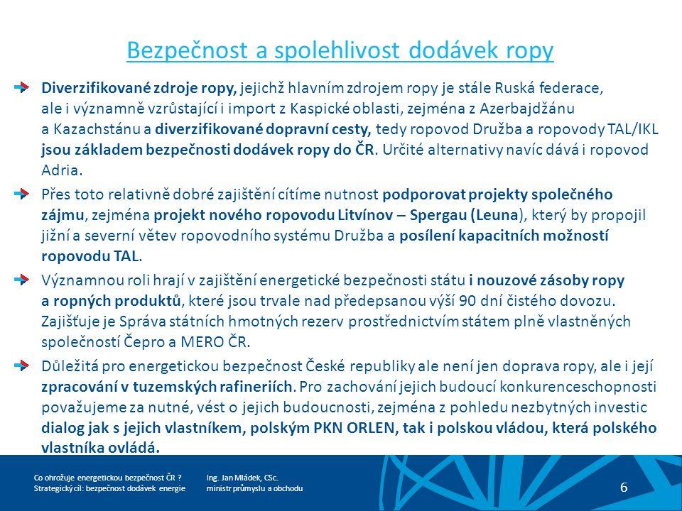 Ing. Jan Mládek, CSc. ministr průmyslu a obchodu 6 Co ohrožuje energetickou bezpečnost ČR .