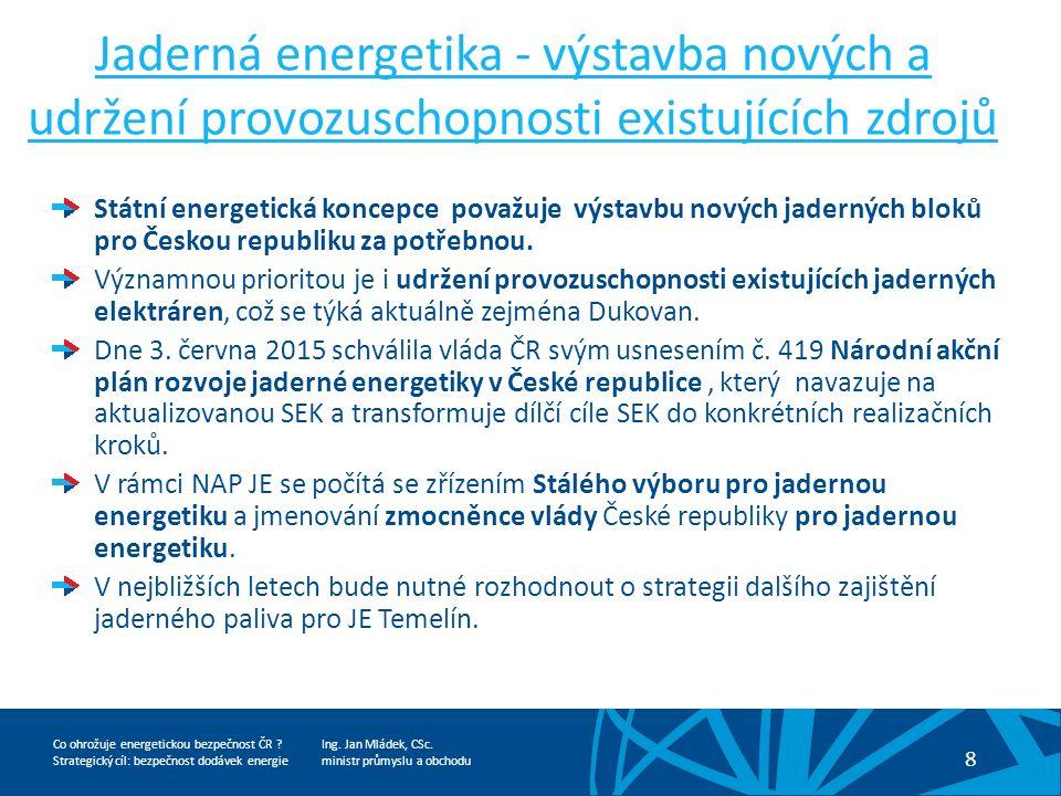 Ing. Jan Mládek, CSc. ministr průmyslu a obchodu 8 Co ohrožuje energetickou bezpečnost ČR .