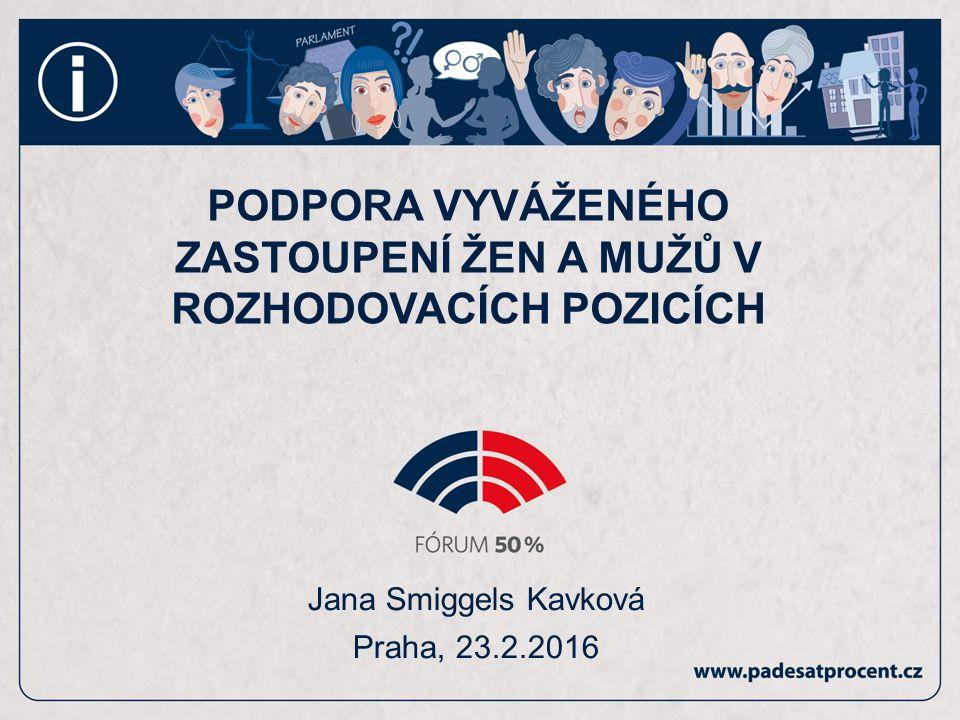 Jana Smiggels Kavková Praha, 23.2.2016 PODPORA VYVÁŽENÉHO ZASTOUPENÍ ŽEN A MUŽŮ V ROZHODOVACÍCH POZICÍCH