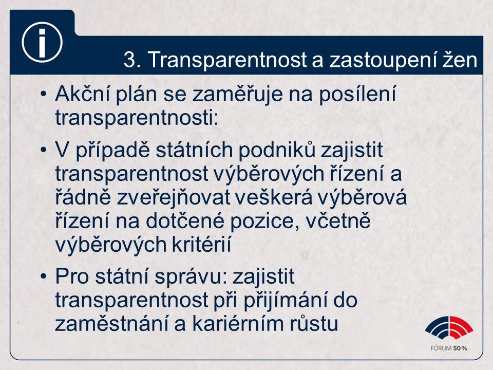 3. Transparentnost a zastoupení žen Akční plán se zaměřuje na posílení transparentnosti: V případě státních podniků zajistit transparentnost výběrovýc