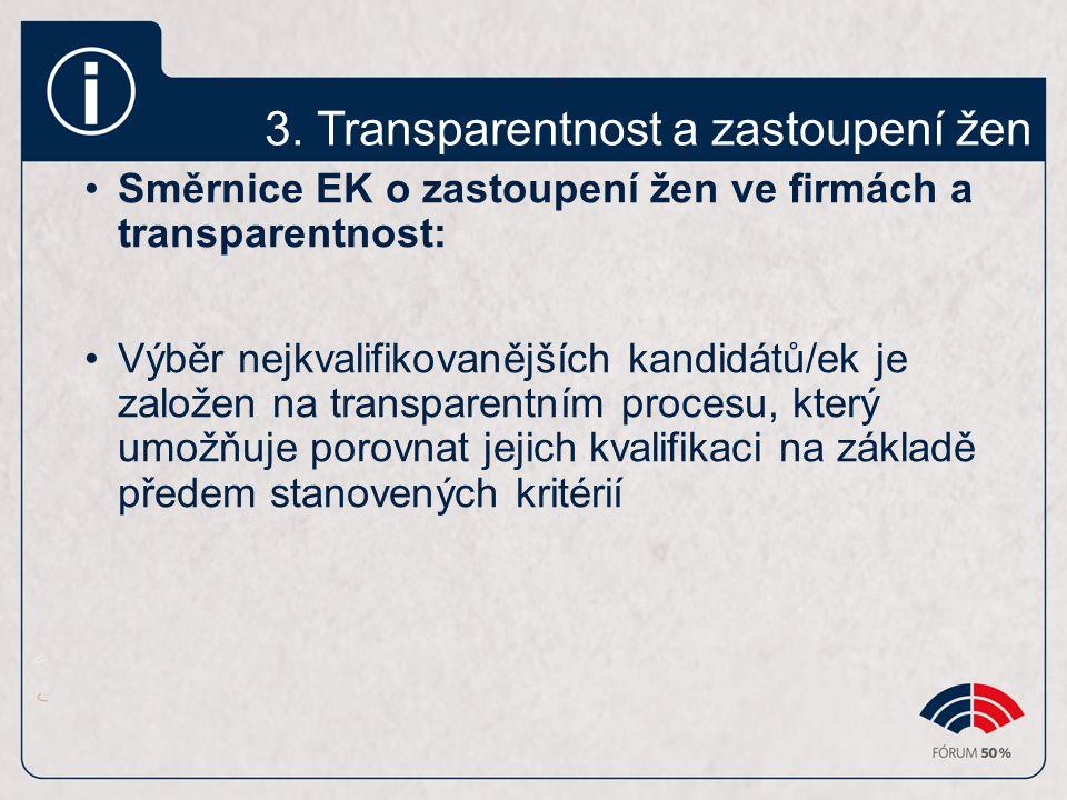 3. Transparentnost a zastoupení žen Směrnice EK o zastoupení žen ve firmách a transparentnost: Výběr nejkvalifikovanějších kandidátů/ek je založen na