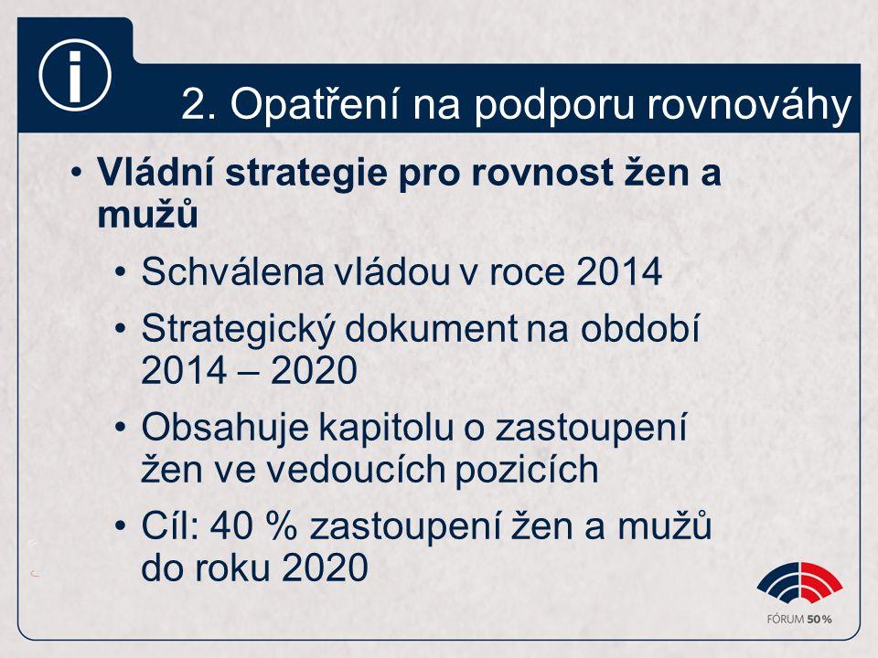 2. Opatření na podporu rovnováhy Vládní strategie pro rovnost žen a mužů Schválena vládou v roce 2014 Strategický dokument na období 2014 – 2020 Obsah