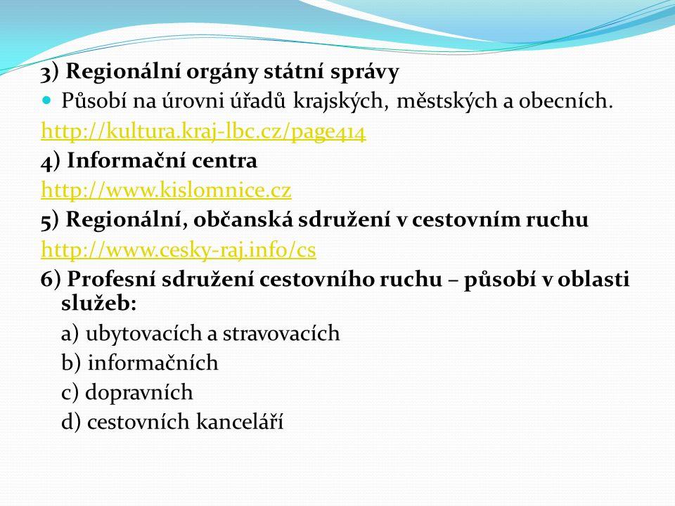 3) Regionální orgány státní správy Působí na úrovni úřadů krajských, městských a obecních.