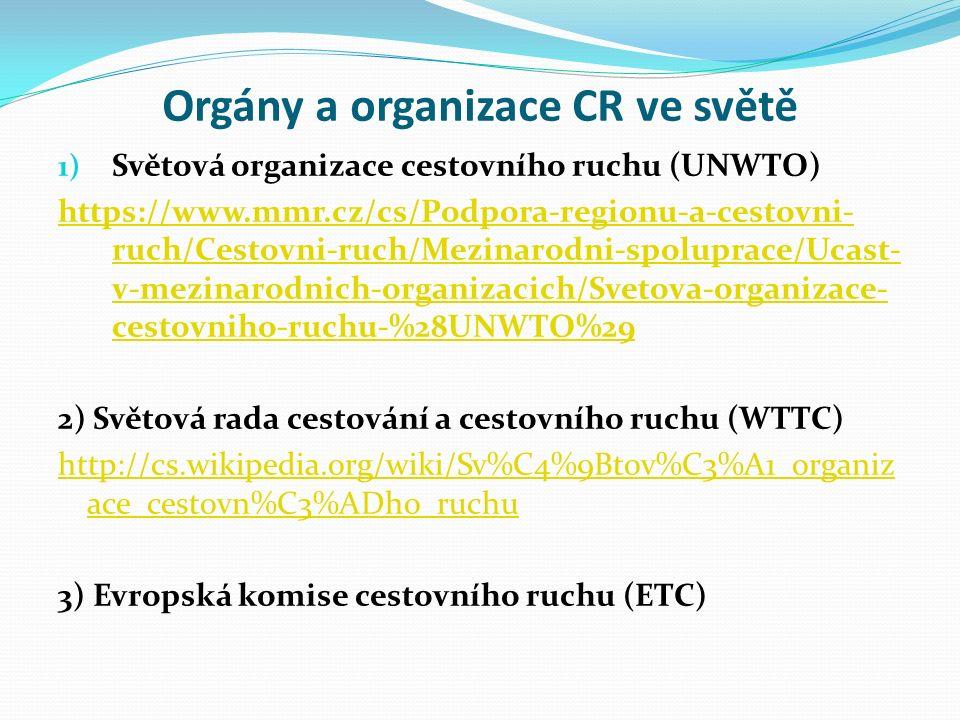 Orgány a organizace CR ve světě 1) Světová organizace cestovního ruchu (UNWTO) https://www.mmr.cz/cs/Podpora-regionu-a-cestovni- ruch/Cestovni-ruch/Mezinarodni-spoluprace/Ucast- v-mezinarodnich-organizacich/Svetova-organizace- cestovniho-ruchu-%28UNWTO%29 2) Světová rada cestování a cestovního ruchu (WTTC) http://cs.wikipedia.org/wiki/Sv%C4%9Btov%C3%A1_organiz ace_cestovn%C3%ADho_ruchu 3) Evropská komise cestovního ruchu (ETC)