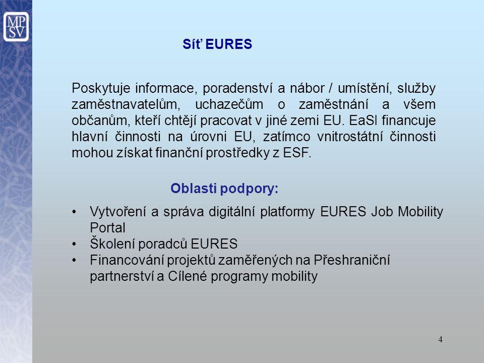 4 Poskytuje informace, poradenství a nábor / umístění, služby zaměstnavatelům, uchazečům o zaměstnání a všem občanům, kteří chtějí pracovat v jiné zemi EU.