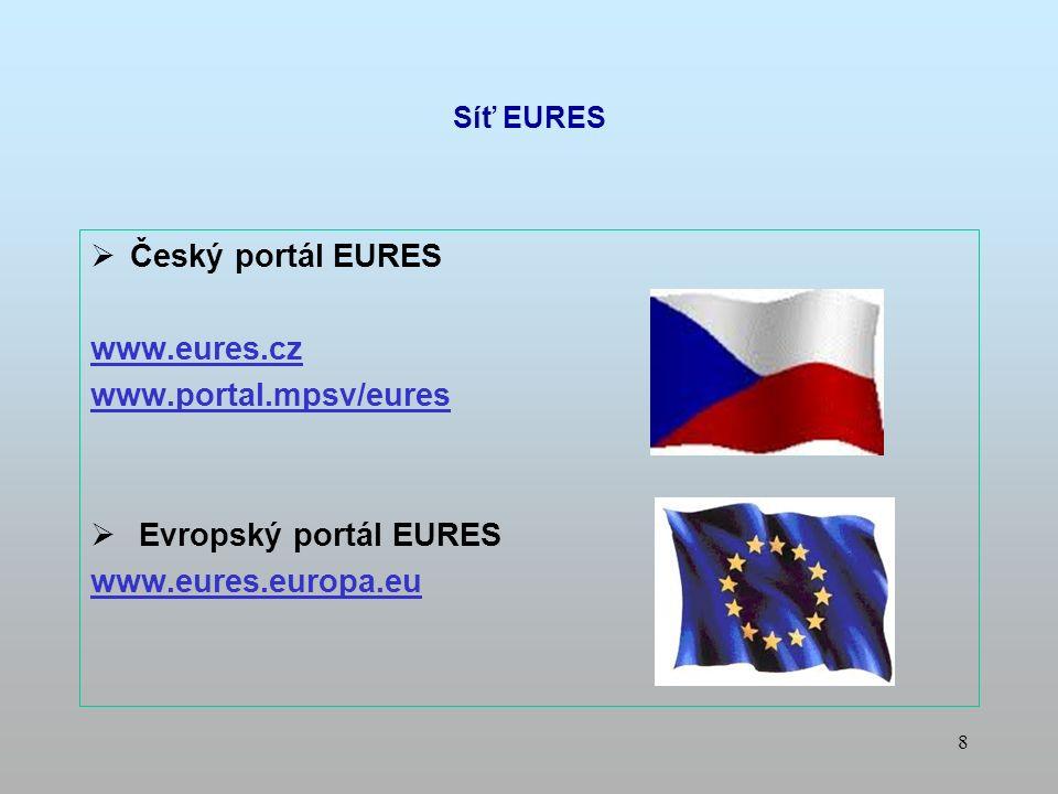 8  Český portál EURES www.eures.cz www.portal.mpsv/eures  Evropský portál EURES www.eures.europa.eu