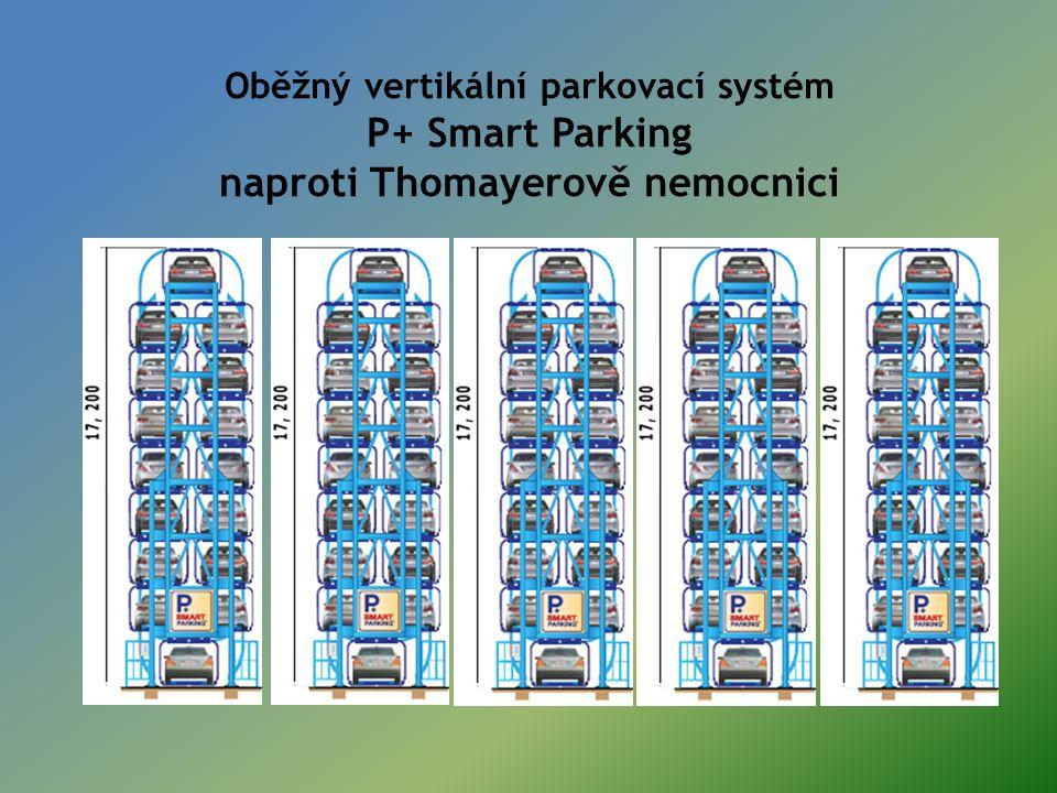 Oběžný vertikální parkovací systém P+ Smart Parking naproti Thomayerově nemocnici