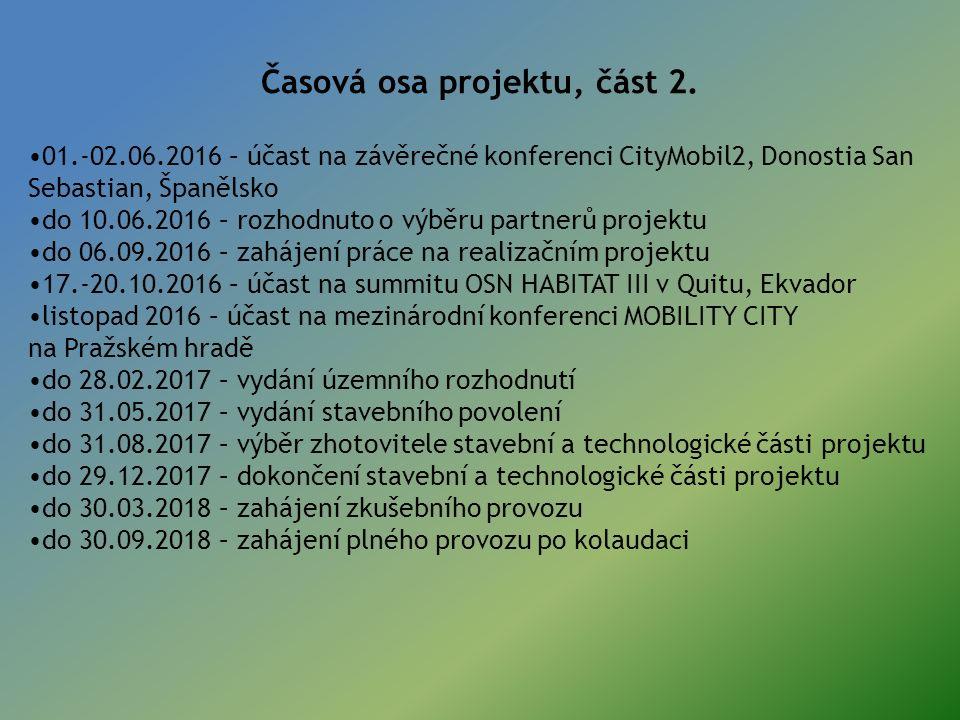 Časová osa projektu, část 2. 01.-02.06.2016 – účast na závěrečné konferenci CityMobil2, Donostia San Sebastian, Španělsko do 10.06.2016 – rozhodnuto o