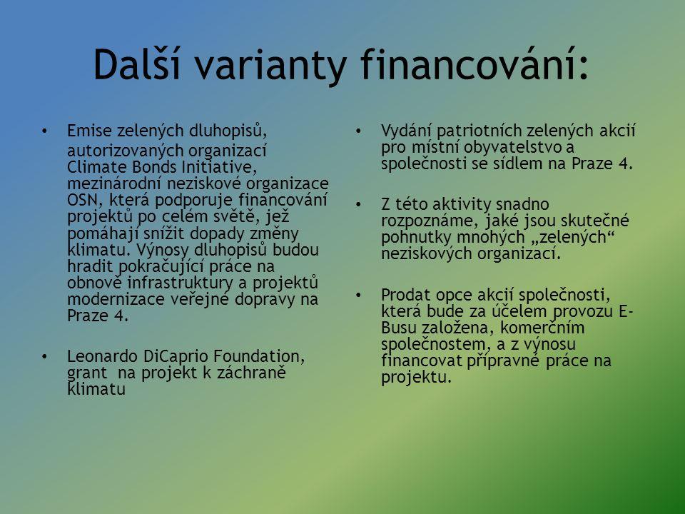 Další varianty financování: Emise zelených dluhopisů, autorizovaných organizací Climate Bonds Initiative, mezinárodní neziskové organizace OSN, která