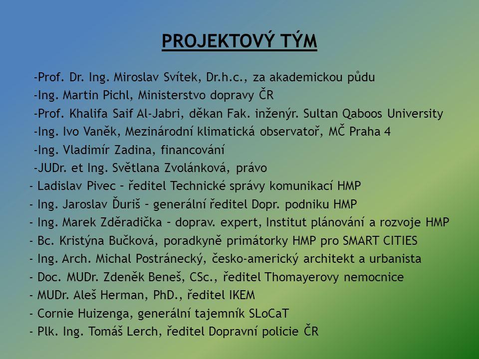 PROJEKTOVÝ TÝM -Prof.Dr. Ing. Miroslav Svítek, Dr.h.c., za akademickou půdu -Ing.