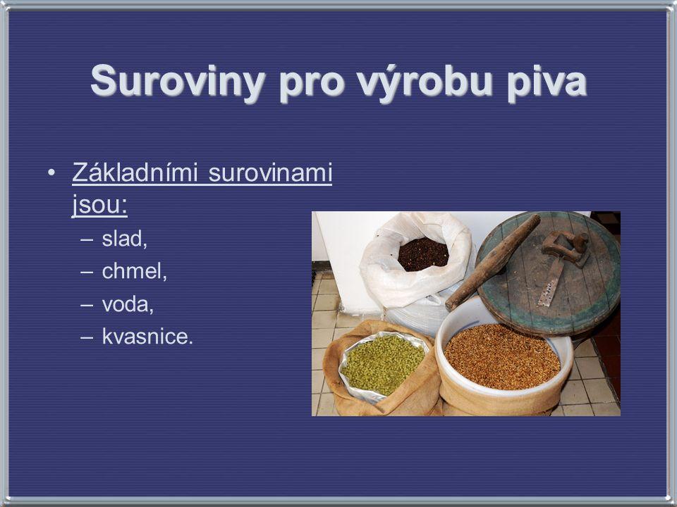 Základními surovinami jsou: –slad, –chmel, –voda, –kvasnice.