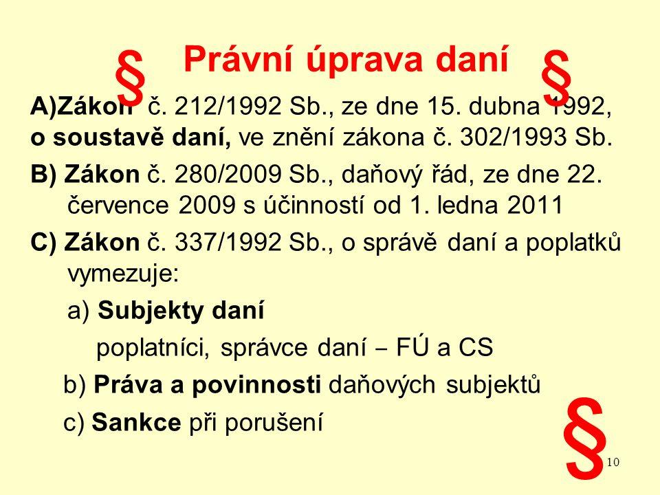 Právní úprava daní A)Zákon č. 212/1992 Sb., ze dne 15.