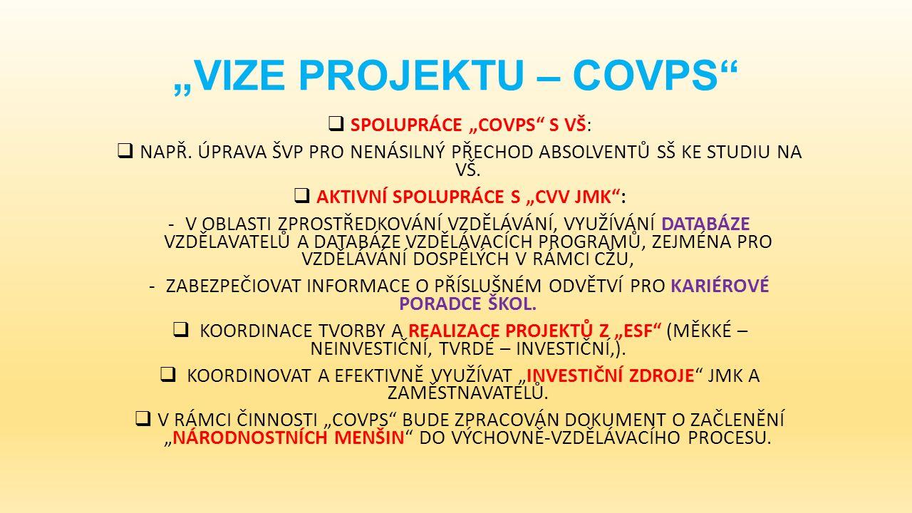 """""""VIZE PROJEKTU – COVPS  SPOLUPRÁCE """"COVPS S VŠ:  NAPŘ."""