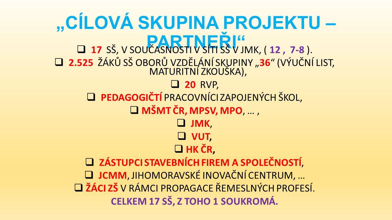 """""""CÍLOVÁ SKUPINA PROJEKTU – PARTNEŘI  17 SŠ, V SOUČASNOSTI V SÍTI SŠ V JMK, ( 12, 7-8 )."""