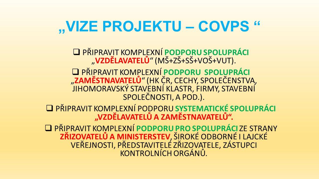 """""""VIZE PROJEKTU – COVPS  PŘIPRAVIT KOMPLEXNÍ PODPORU SPOLUPRÁCI """"VZDĚLAVATELŮ (MŠ+ZŠ+SŠ+VOŠ+VUT)."""