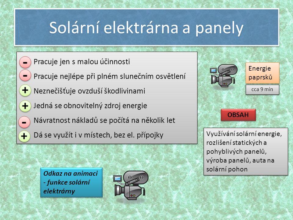 Solární elektrárna a panely Pracuje jen s malou účinnosti Pracuje nejlépe při plném slunečním osvětlení Neznečišťuje ovzduší škodlivinami Jedná se obnovitelný zdroj energie Návratnost nákladů se počítá na několik let Dá se využít i v místech, bez el.