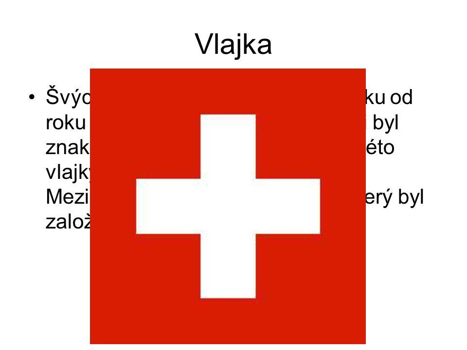 Vlajka Švýcarsko používá čtvercovou vlajku od roku 1848, bílí kříž v červeném poli byl znakem Švýcarska od 14.stol.