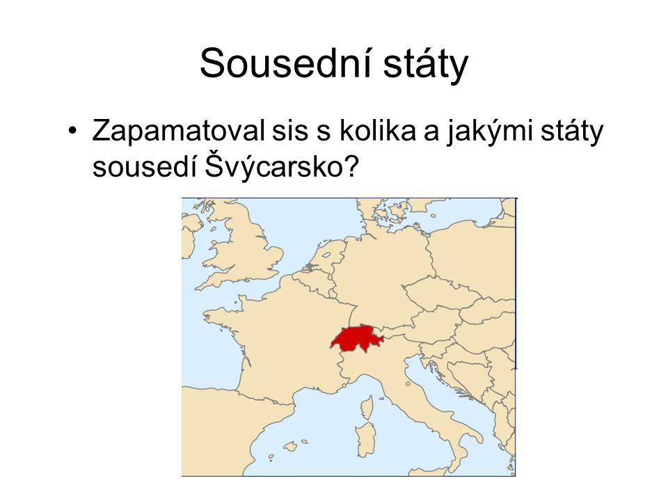Sousední státy Zapamatoval sis s kolika a jakými státy sousedí Švýcarsko
