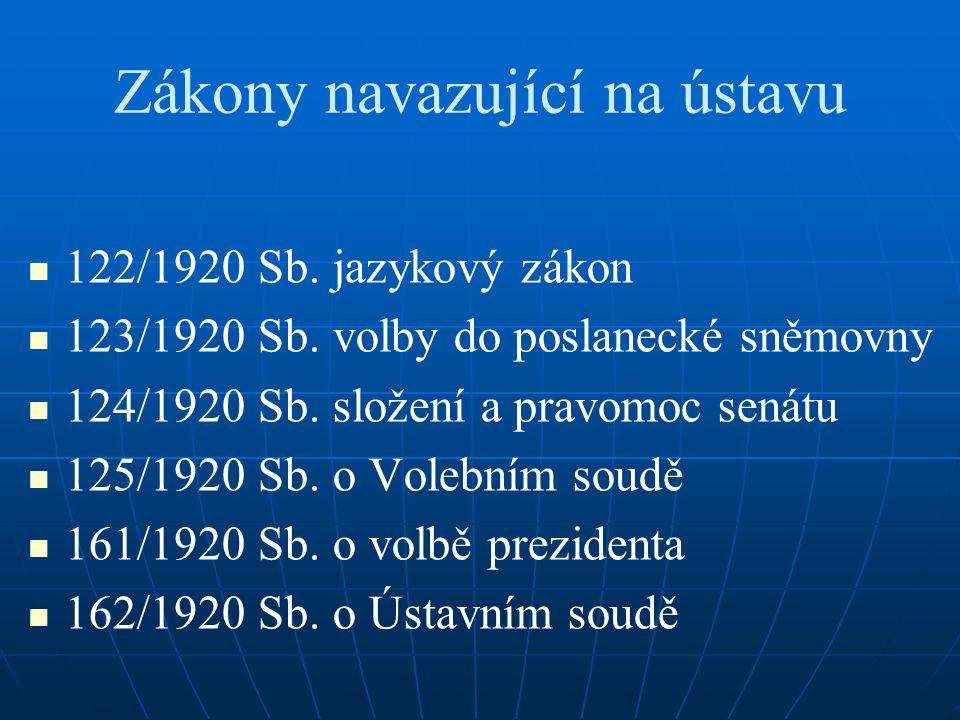 Zákony navazující na ústavu 122/1920 Sb.jazykový zákon 123/1920 Sb.