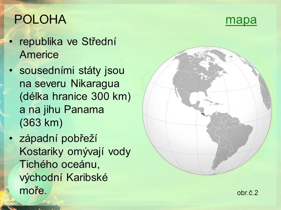 POLOHA mapamapa republika ve Střední Americe sousedními státy jsou na severu Nikaragua (délka hranice 300 km) a na jihu Panama (363 km) západní pobřeží Kostariky omývají vody Tichého oceánu, východní Karibské moře.