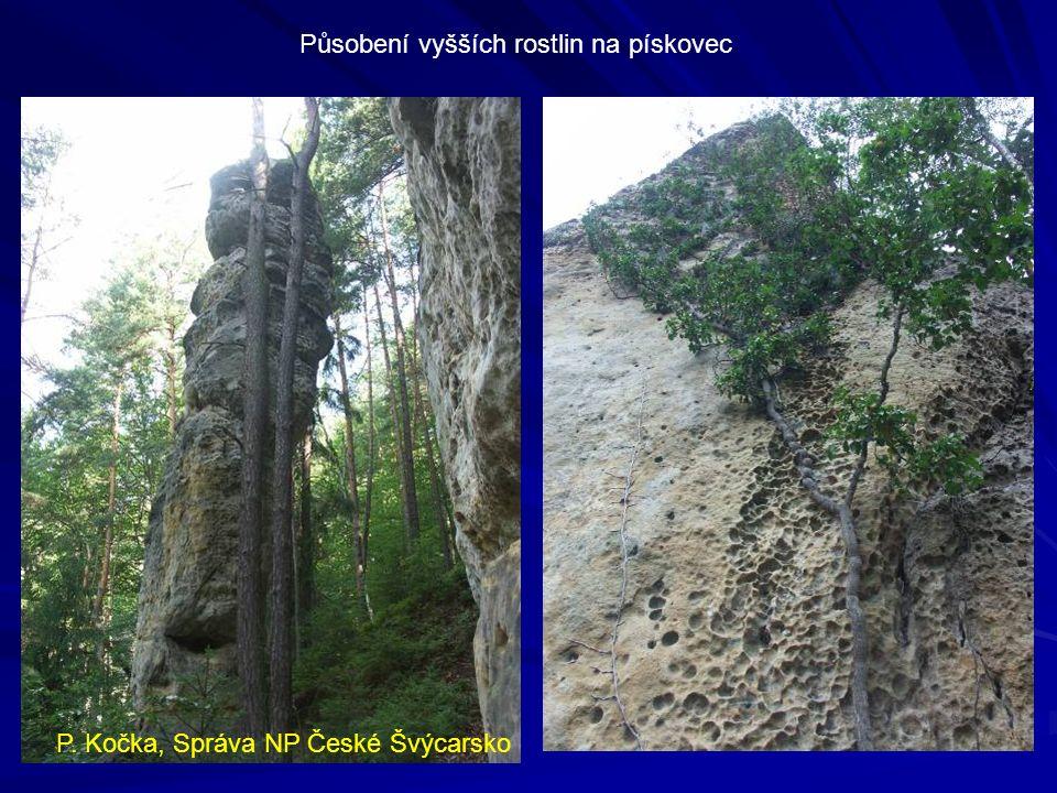 Vpravo atypické jištění či umělý chyt + přisekané stupy v Lužických horách, dole železem osazená velmi frekventovaná cesta v Sasku P.