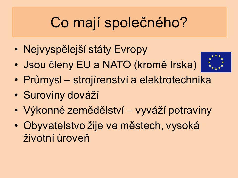 Nejvyspělejší státy Evropy Jsou členy EU a NATO (kromě Irska) Průmysl – strojírenství a elektrotechnika Suroviny dováží Výkonné zemědělství – vyváží p