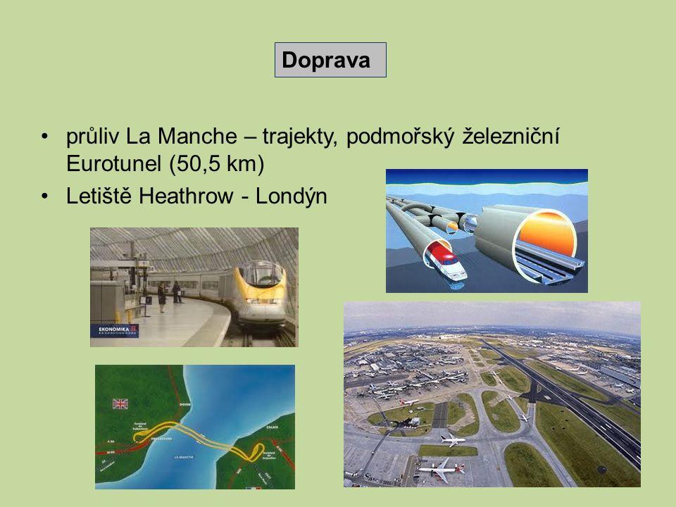průliv La Manche – trajekty, podmořský železniční Eurotunel (50,5 km) Letiště Heathrow - Londýn Doprava