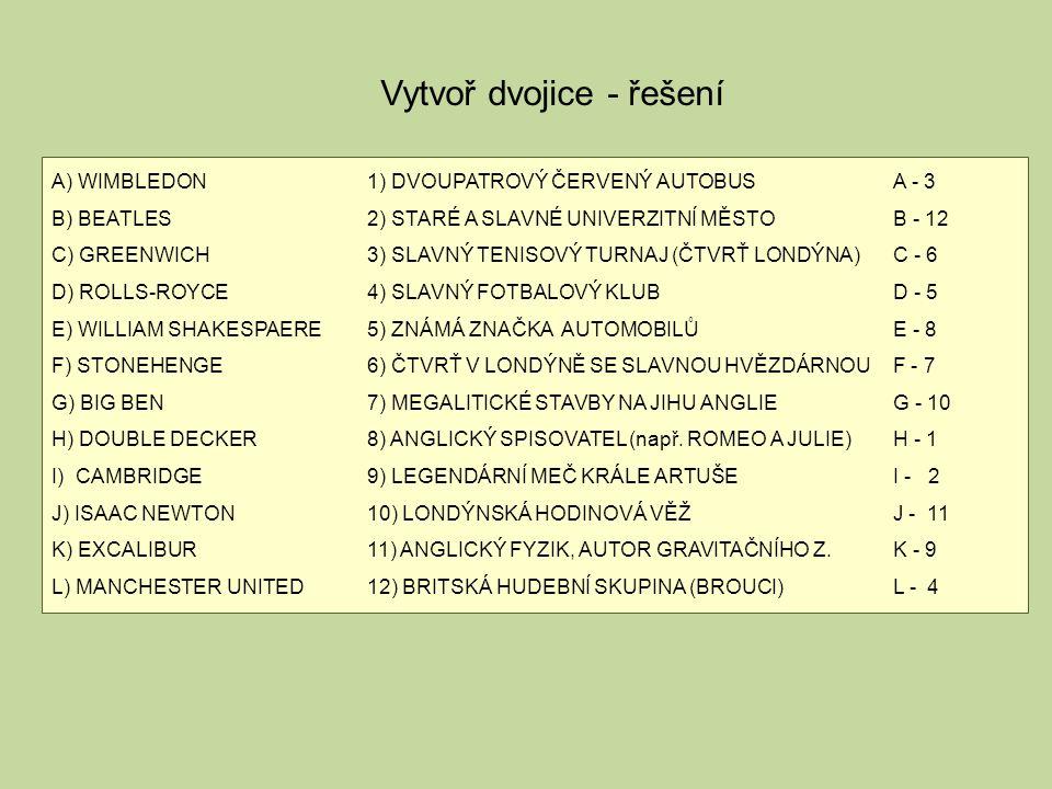 A) WIMBLEDON1) DVOUPATROVÝ ČERVENÝ AUTOBUSA - 3 B) BEATLES2) STARÉ A SLAVNÉ UNIVERZITNÍ MĚSTOB - 12 C) GREENWICH3) SLAVNÝ TENISOVÝ TURNAJ (ČTVRŤ LONDÝNA)C - 6 D) ROLLS-ROYCE4) SLAVNÝ FOTBALOVÝ KLUBD - 5 E) WILLIAM SHAKESPAERE5) ZNÁMÁ ZNAČKA AUTOMOBILŮE - 8 F) STONEHENGE6) ČTVRŤ V LONDÝNĚ SE SLAVNOU HVĚZDÁRNOUF - 7 G) BIG BEN7) MEGALITICKÉ STAVBY NA JIHU ANGLIEG - 10 H) DOUBLE DECKER8) ANGLICKÝ SPISOVATEL (např.