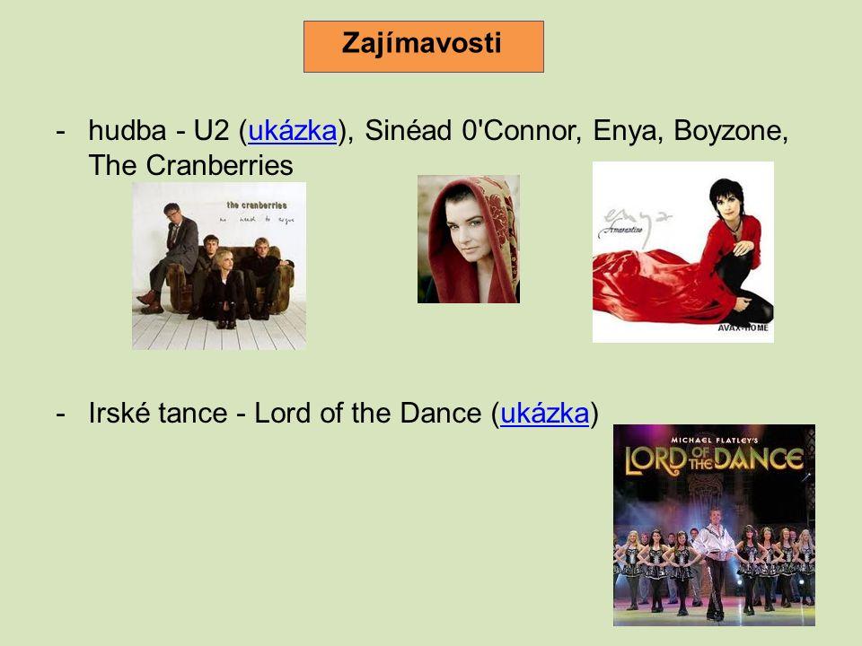 -hudba - U2 (ukázka), Sinéad 0 Connor, Enya, Boyzone, The Cranberriesukázka -Irské tance - Lord of the Dance (ukázka)ukázka Zajímavosti