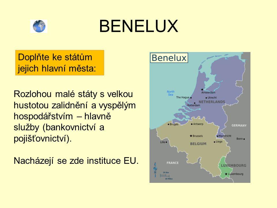 BENELUX Doplňte ke státům jejich hlavní města: Rozlohou malé státy s velkou hustotou zalidnění a vyspělým hospodářstvím – hlavně služby (bankovnictví a pojišťovnictví).