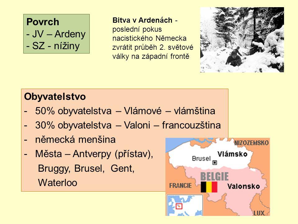 Povrch - JV – Ardeny - SZ - nížiny Obyvatelstvo -50% obyvatelstva – Vlámové – vlámština -30% obyvatelstva – Valoni – francouzština -německá menšina -Města – Antverpy (přístav), Bruggy, Brusel, Gent, Waterloo Bitva v Ardenách - poslední pokus nacistického Německa zvrátit průběh 2.