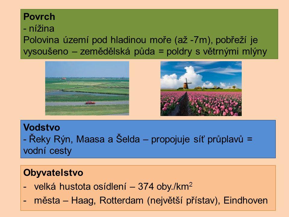 Povrch - nížina Polovina území pod hladinou moře (až -7m), pobřeží je vysoušeno – zemědělská půda = poldry s větrnými mlýny Obyvatelstvo -velká hustota osídlení – 374 oby./km 2 -města – Haag, Rotterdam (největší přístav), Eindhoven Vodstvo - Řeky Rýn, Maasa a Šelda – propojuje síť průplavů = vodní cesty