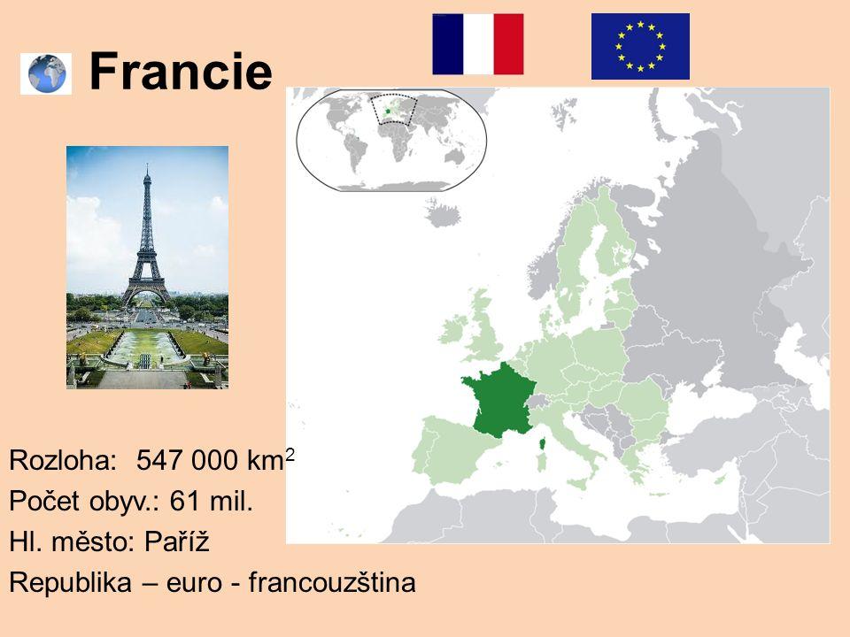 Francie Rozloha: 547 000 km 2 Počet obyv.: 61 mil. Hl. město: Paříž Republika – euro - francouzština