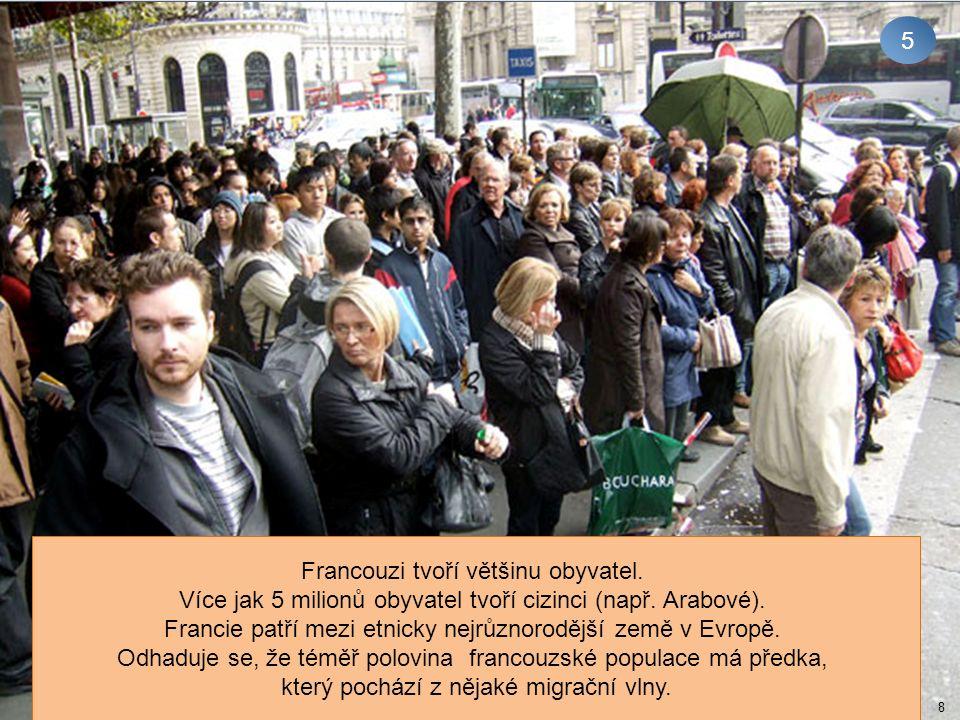 5 8 Francouzi tvoří většinu obyvatel. Více jak 5 milionů obyvatel tvoří cizinci (např. Arabové). Francie patří mezi etnicky nejrůznorodější země v Evr