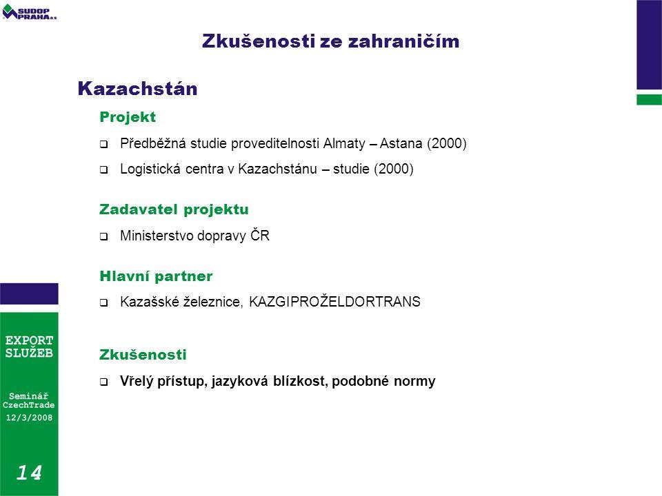 Zkušenosti ze zahraničím 14 Kazachstán Projekt  Předběžná studie proveditelnosti Almaty – Astana (2000)  Logistická centra v Kazachstánu – studie (2000) Zadavatel projektu  Ministerstvo dopravy ČR Hlavní partner  Kazašské železnice, KAZGIPROŽELDORTRANS Zkušenosti  Vřelý přístup, jazyková blízkost, podobné normy